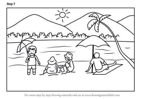 learn   draw summer beach scene beaches step