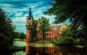 Wallpaper, Greens, Clouds, Trees, Pond, Park, Castle, Hdr, Germany, Muskau, Park, Images, For
