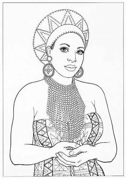Printable Coloring African Pages Queen American Adult