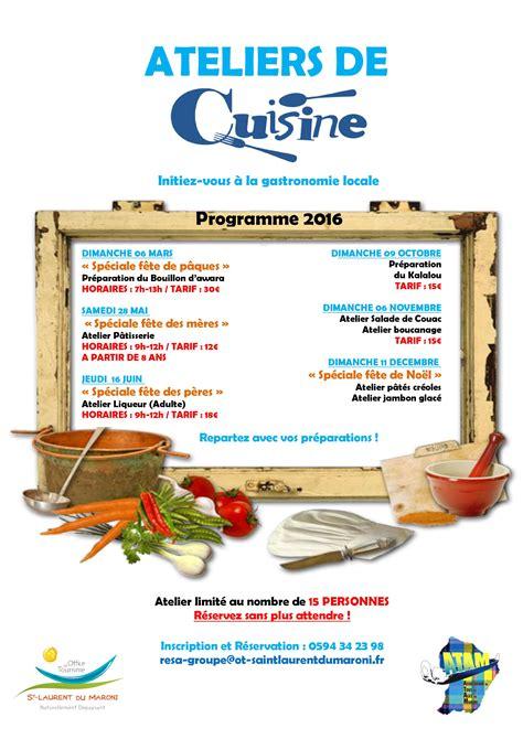 programme de cuisine ateliers de cuisine programme 2016 office de tourisme
