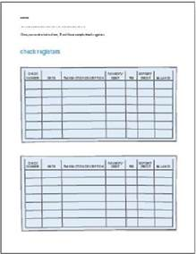 Blank Checks Register Worksheets