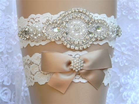 Wedding Accessories For Women : Wedding Garter Set Lace Flower Bridal Garter Pearl And