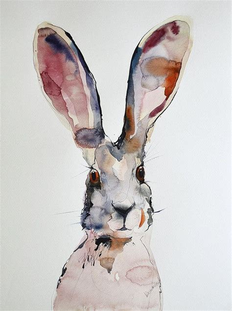 march hare picture original abstract watercolor painting