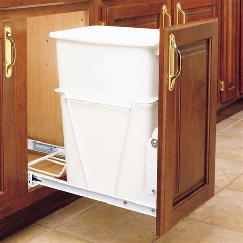 kitchen cabinet trash drawer rev a shelf single trash pullout 35 quart white rv 12pb s 5840