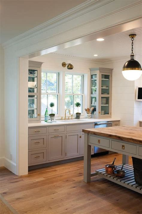 farrow and grey kitchen cabinets gray cabinets with backs of cabinets painted blue 9872