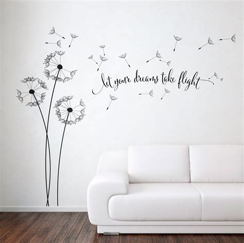 wall decor adhesive dandelion blowing with quote wall sticker floral sticker
