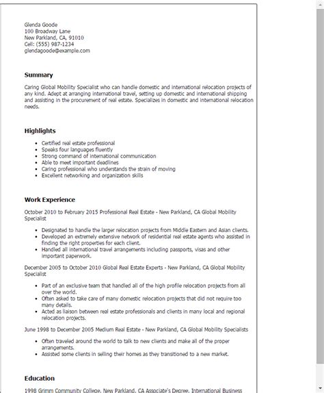 Global Work And Travel Resume by Professional Global Mobility Specialist Templates To
