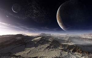 Download wallpaper alien planet, surface, Mountains, sky ...