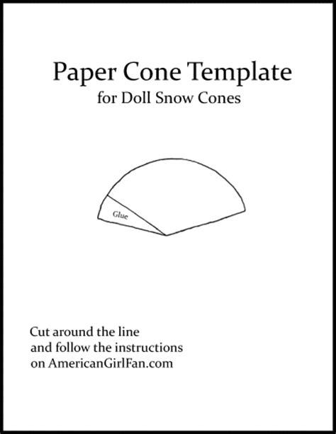 paper cone template doll recipe make a snow cone americangirlfan