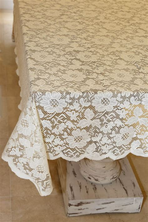 how to make a tablecloth for a rectangular table tablecloth lace square ivory 54in