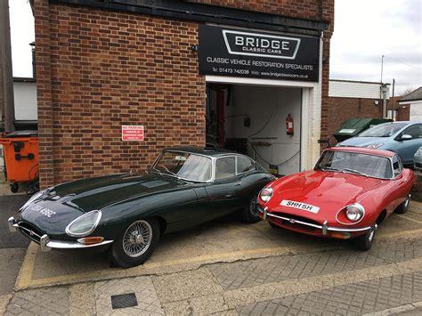 Jaguar E-types Outside Bridge Classic Cars