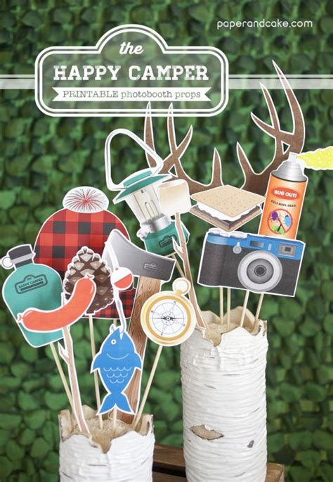 camping printable photobooth props paper  cake paper