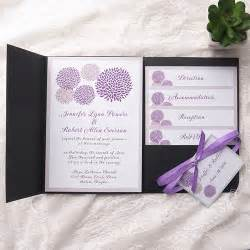 cheap wedding invitation kits cheap purple dandelion black pocket wedding invitation kits ewpi155 as low as 1 69