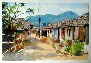 Indian village by artist Akash Chavan watercolor Paintings