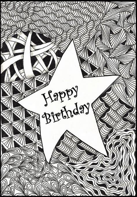 art therapy coloring page happy birthday star