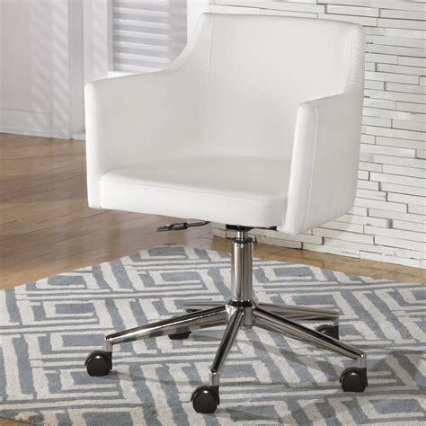 signature design by baraga white vinyl home office