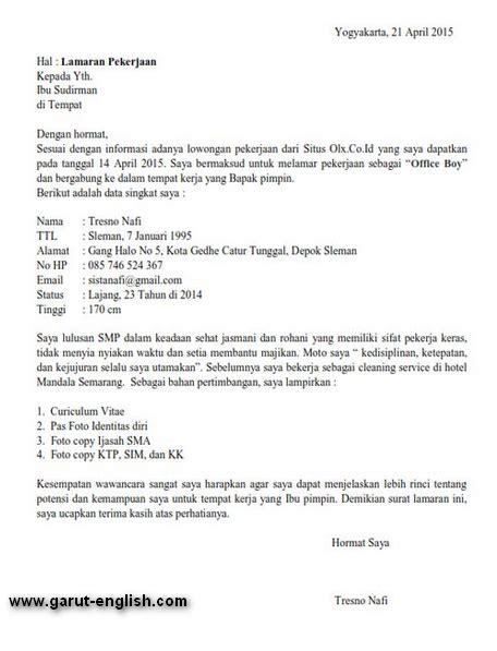 Surat Lamaran Kerja 2017 by Surat Lamaran Kerja Menjadi Ob Office Boy Terbaru Info