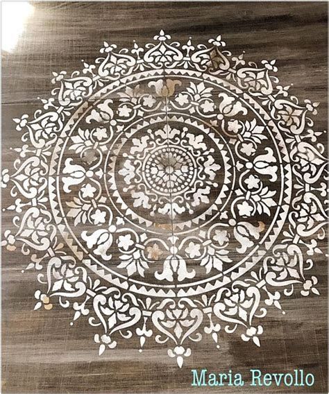 stencil  wood table   mandala pattern kitchen