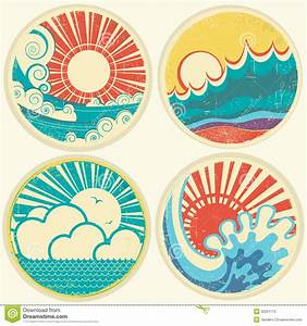 Vintage Sun And Sea Waves. Vector Icons Of Illust ...