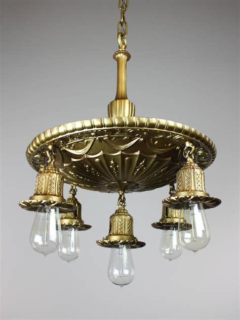 antique brass shower bare bulb light fixture 5 light