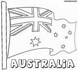 Flag Australian Coloring Colorings sketch template