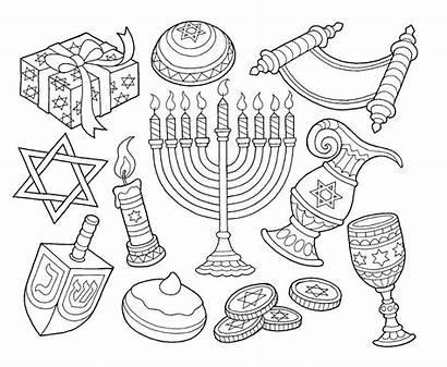 Hanukkah Drawing Coloring Menorah Dreidel Pages Drawings