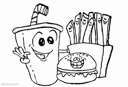 Coloring Pages Fries Hamburger Drink Printable Adults