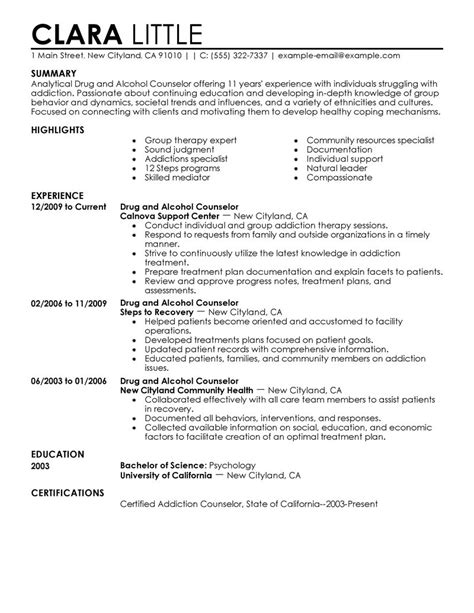 Mental Health Counselor Resume Summary by Best And Counselor Resume Exle Livecareer