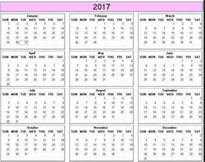 Free Printable 2017 Yearly Calendar Template