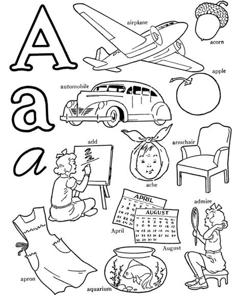 color with letter a abc alphabet words coloring activity sheet letter a