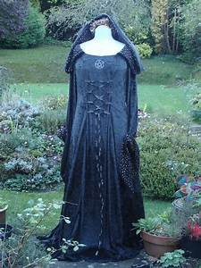 bespoke hooded goth witch pagan black medieval wedding gown With witch wedding dress