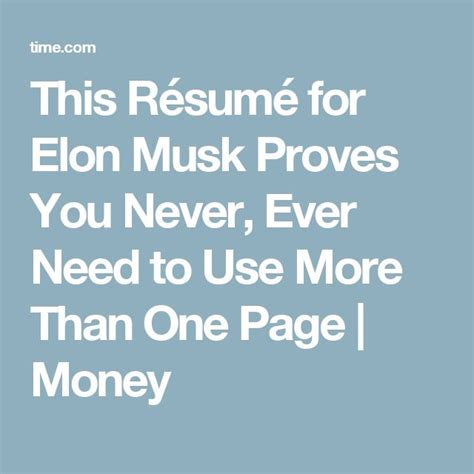 Elon Musk Resume One Page by Best 25 Page Ideas On