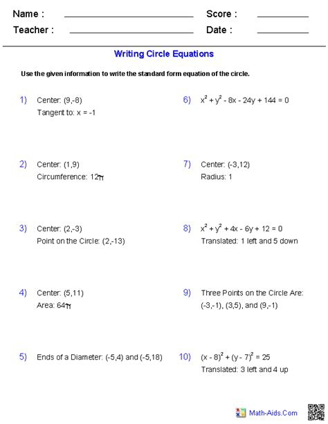 writing equation of circles worksheets math aids