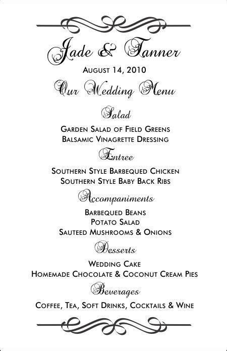 printable menu templates   wedding menu