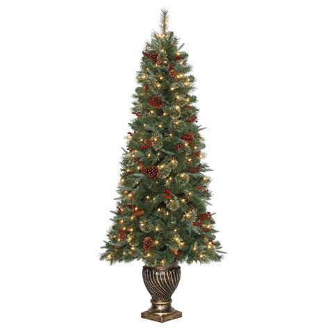 6 5 ft hayden pine potted artificial christmas tree with 200 clear lights tg66p4457c00 the
