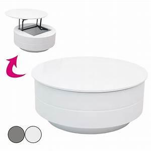 Table Basse Ronde Blanche : table basse ronde avec tiroir design en image ~ Teatrodelosmanantiales.com Idées de Décoration