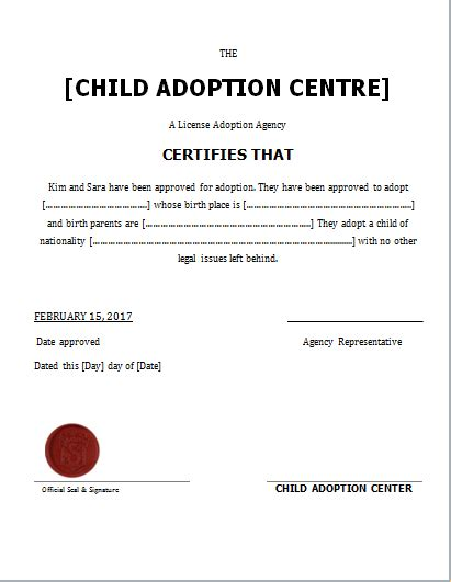 child adoption certificate template  word document hub