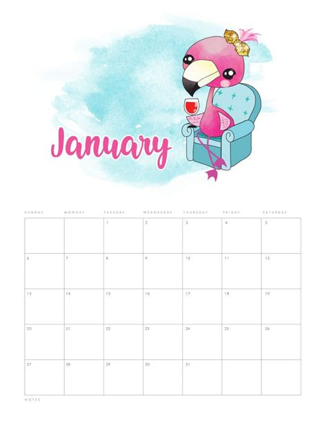 printable funny flamingo calendar cottage market