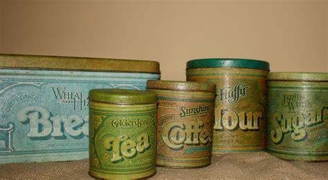 tin kitchen canisters vintage metal kitchen canisters set of 5