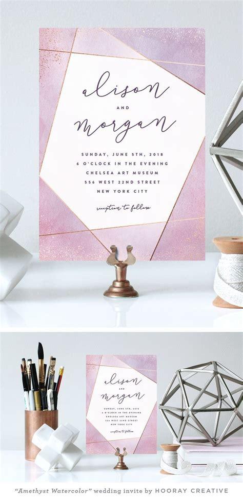 """Amethyst Watercolor"" modern geometric wedding invitation"