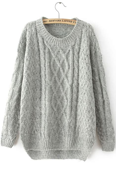 knitted sweaters grey sleeve cable knit sweater shein sheinside