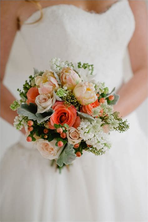 Peach Coral And White Bridal Bouquet By Prestige Floral