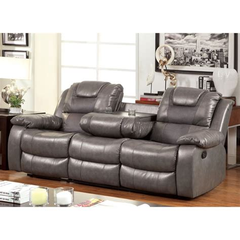 Gray Leather Loveseat by Furniture Of America Luanne Leather Reclining Sofa In Gray