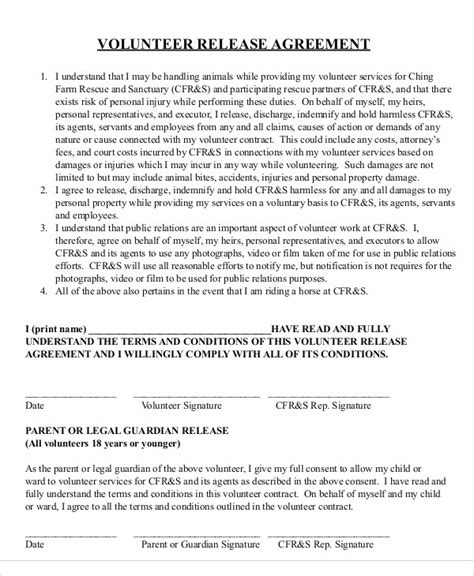 release agreement templates  word  format