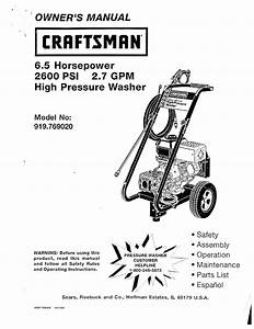 Craftsman Pressure Washer 919 769020 User Guide