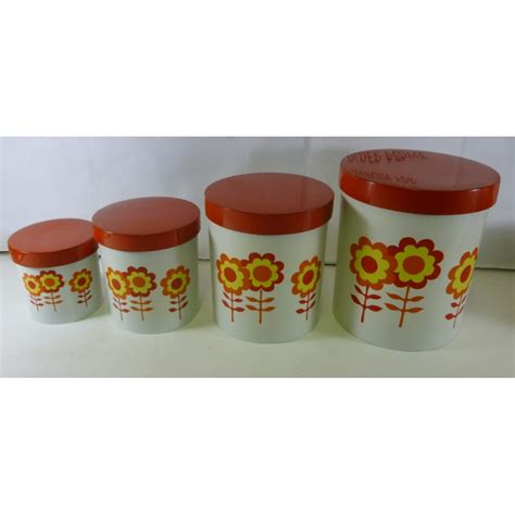 4 kitchen canister sets kitchen canister set of 4 retro flowers in oranges