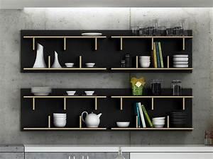 Etagere Murale En Bois : etag re murale design en bois 2 niveaux bern noir 90 ~ Dailycaller-alerts.com Idées de Décoration