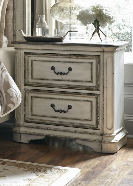 White Distressed Nightstand by Magnolia 2 Drawer Nightstand With Antique Brass Hardware