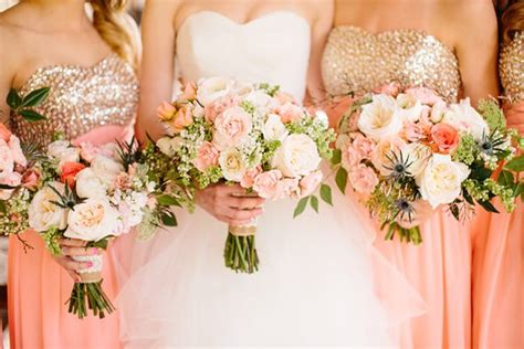 Southern Wedding Pink And Gold Bouquets