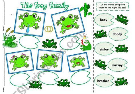 frog family cut paste esl worksheet  kita